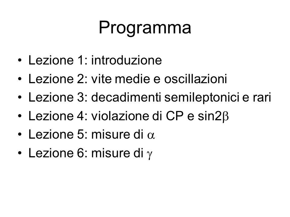 Programma Lezione 1: introduzione Lezione 2: vite medie e oscillazioni Lezione 3: decadimenti semileptonici e rari Lezione 4: violazione di CP e sin2