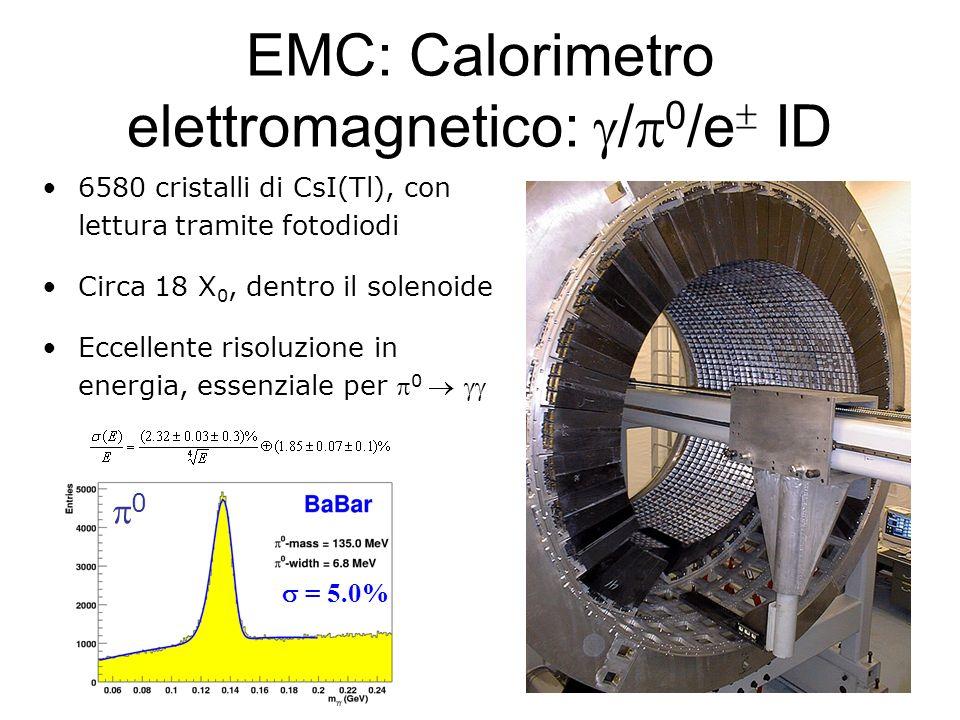 EMC: Calorimetro elettromagnetico: / 0 /e ID 6580 cristalli di CsI(Tl), con lettura tramite fotodiodi Circa 18 X 0, dentro il solenoide Eccellente ris