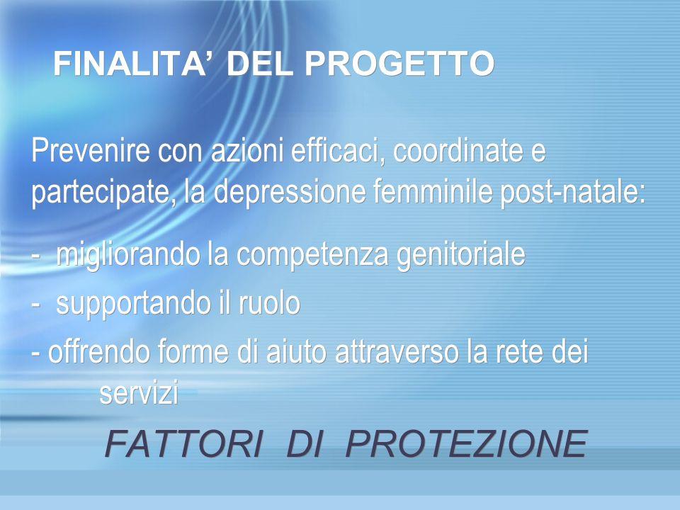 FINALITA DEL PROGETTO Prevenire con azioni efficaci, coordinate e partecipate, la depressione femminile post-natale: - migliorando la competenza genit