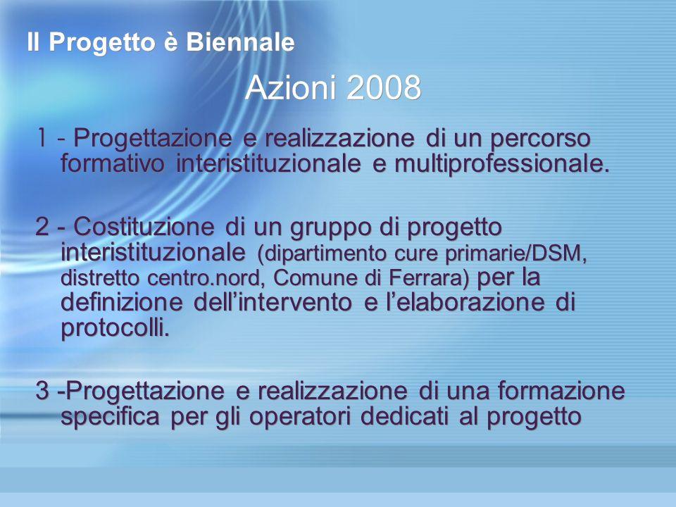 Il Progetto è Biennale 1 - Progettazione e realizzazione di un percorso formativo interistituzionale e multiprofessionale. 2 - Costituzione di un grup