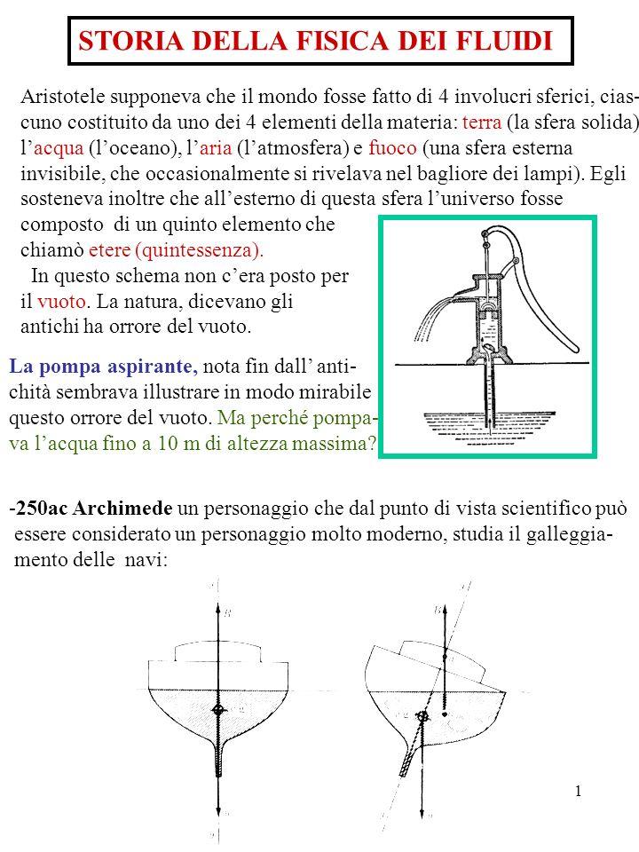 1 STORIA DELLA FISICA DEI FLUIDI Aristotele supponeva che il mondo fosse fatto di 4 involucri sferici, cias- cuno costituito da uno dei 4 elementi del