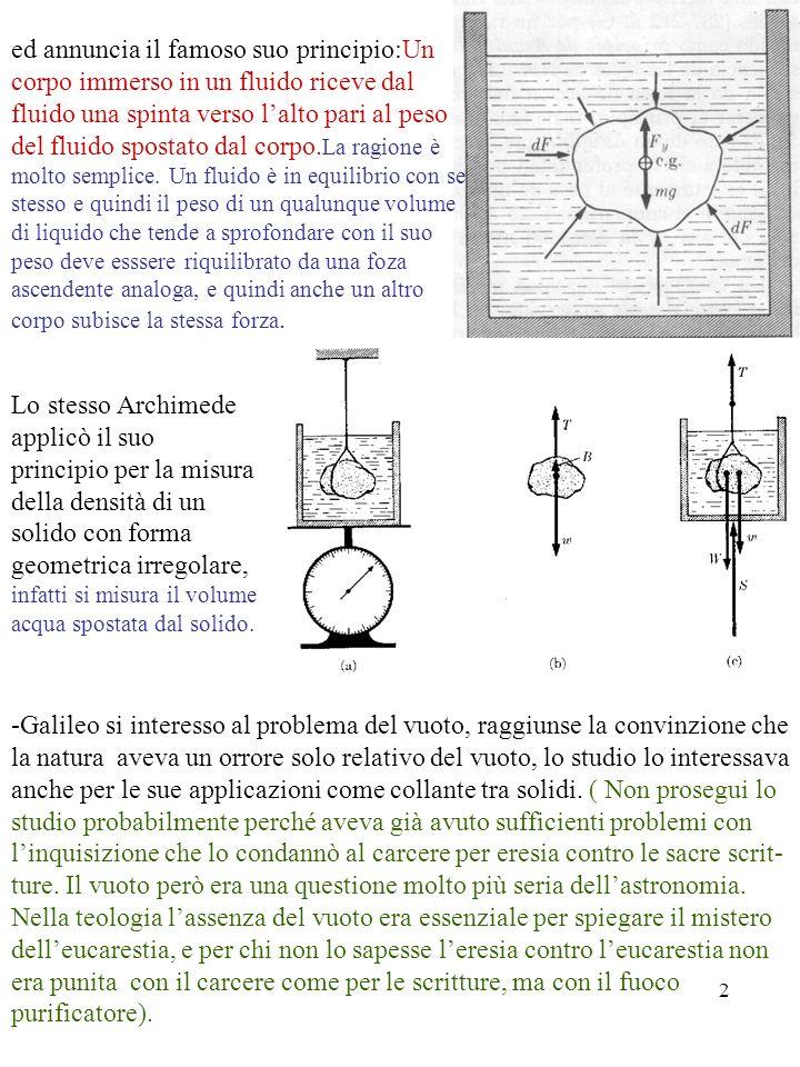 3 - 1644 E.Torricelli, V.Viviani riempirono di mercurio (d Hg = 13.5xd aq ) un tubo di vetro, chiuso sul fondo, di 1m di lunghezza, lo rivoltarono su una baci- nella con il fondo coperto di mercurio.