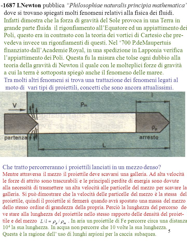 5 -1687 I.Newton pubblica Philosophiae naturalis principia mathematica dove si trovano spiegati molti fenomeni relativi alla fisica dei fluidi. Infatt