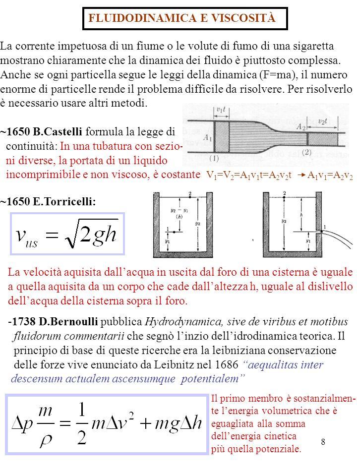 9 Dal teorema di D.Bernoulli si deducono sia la legge di Castelli che il teorema di Torricelli, che il contatore di Venturi …………………… -Contatore di Venturi Questo effetto è molto importante, fa vedere che in un fluido dove la velocità è alta la pressione è bassa e si possono avere effetti molto sor- prendenti come il volo degli aerei, barche a vela quasi controvento, auto- mobili di F1 spinte contro il suolo e palloni rotanti con traiettorie curve: In (b) la palla non rotante si muove verso destra con velocità v.