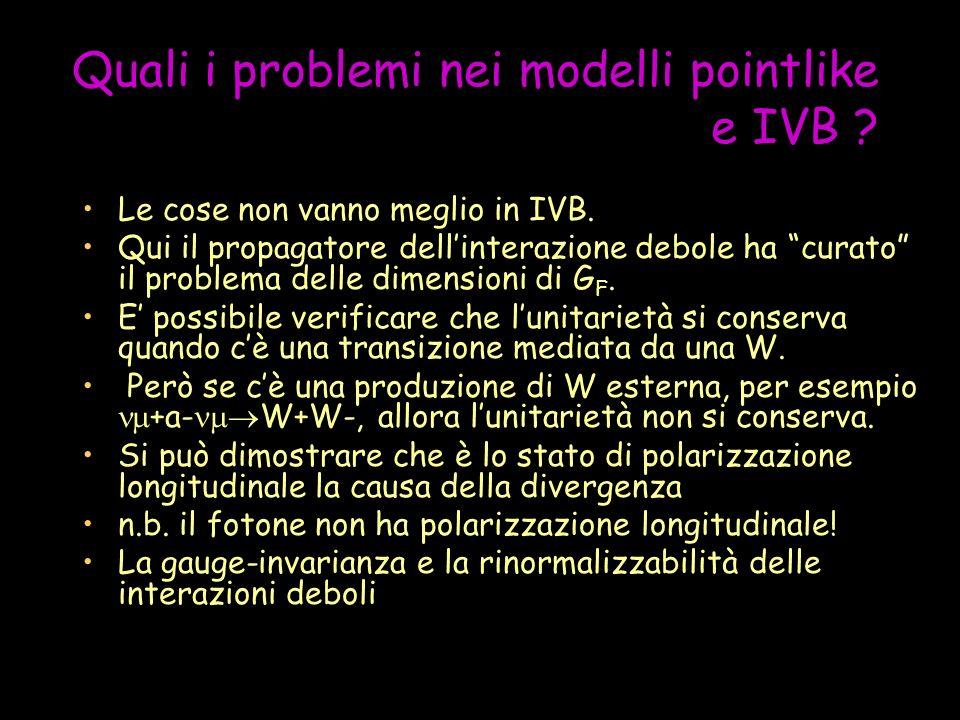 Quali i problemi nei modelli pointlike e IVB . Le cose non vanno meglio in IVB.
