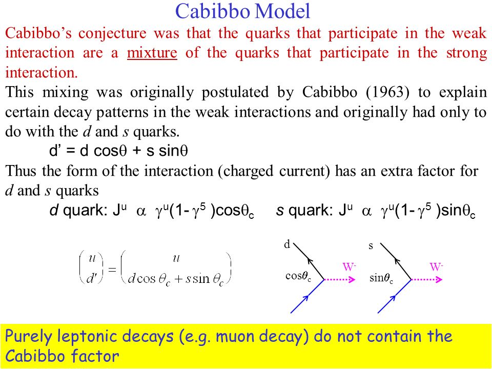 Cabibbo Model Cabibbos conjecture was that the quarks that participate in the weak interaction are a mixture of the quarks that participate in the strong interaction.