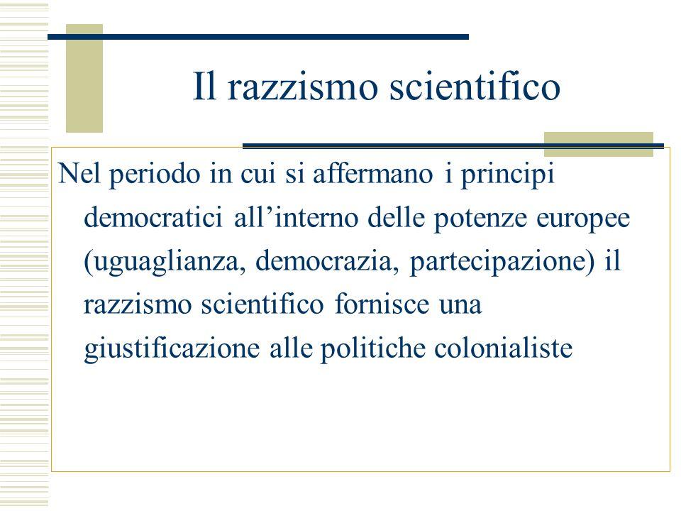 Il razzismo scientifico Nel periodo in cui si affermano i principi democratici allinterno delle potenze europee (uguaglianza, democrazia, partecipazio