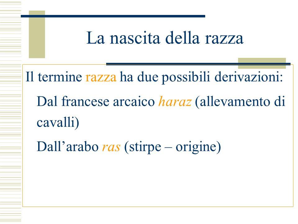 La nascita della razza Il termine razza ha due possibili derivazioni: Dal francese arcaico haraz (allevamento di cavalli) Dallarabo ras (stirpe – orig