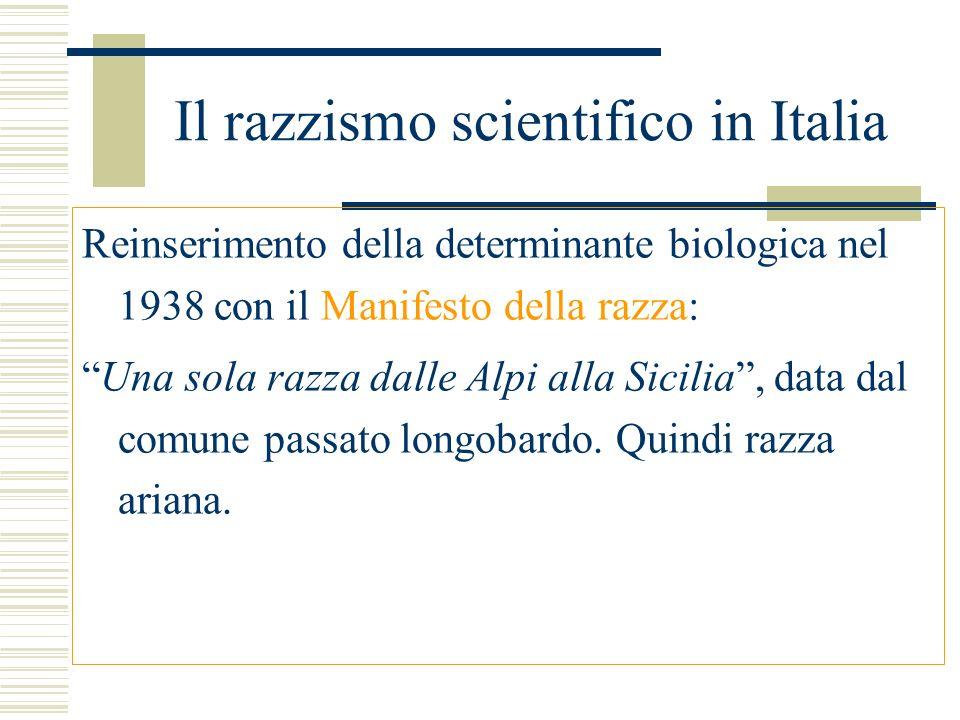 Il razzismo scientifico in Italia Reinserimento della determinante biologica nel 1938 con il Manifesto della razza: Una sola razza dalle Alpi alla Sic