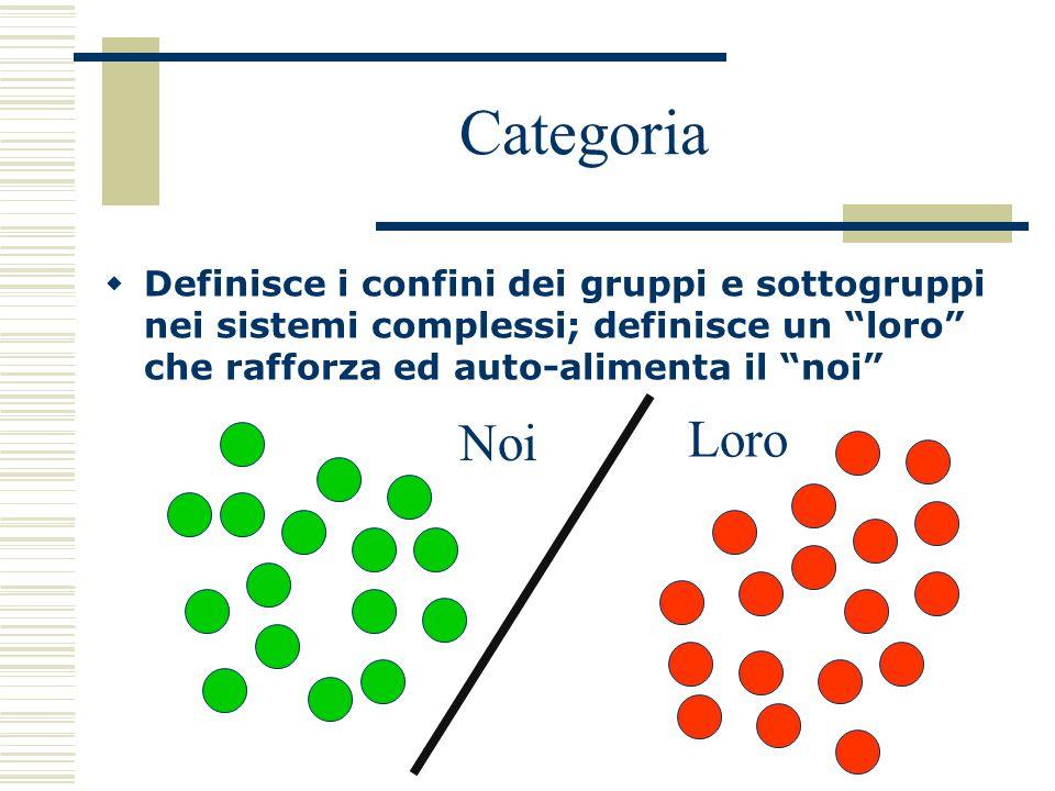 Categoria Definisce i confini dei gruppi e sottogruppi nei sistemi complessi; definisce un loro che rafforza ed auto-alimenta il noi Noi Loro