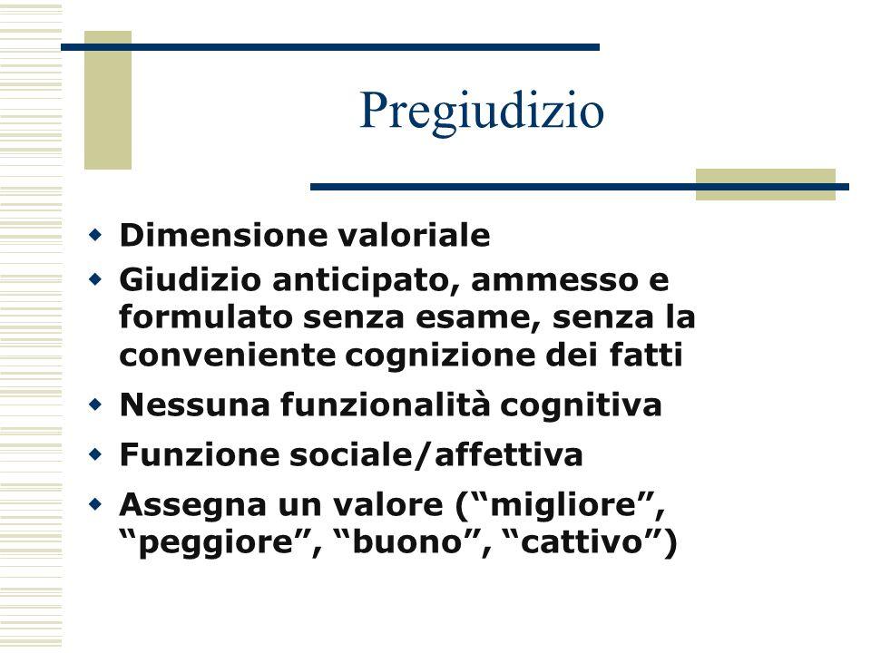 Pregiudizio Dimensione valoriale Giudizio anticipato, ammesso e formulato senza esame, senza la conveniente cognizione dei fatti Nessuna funzionalità
