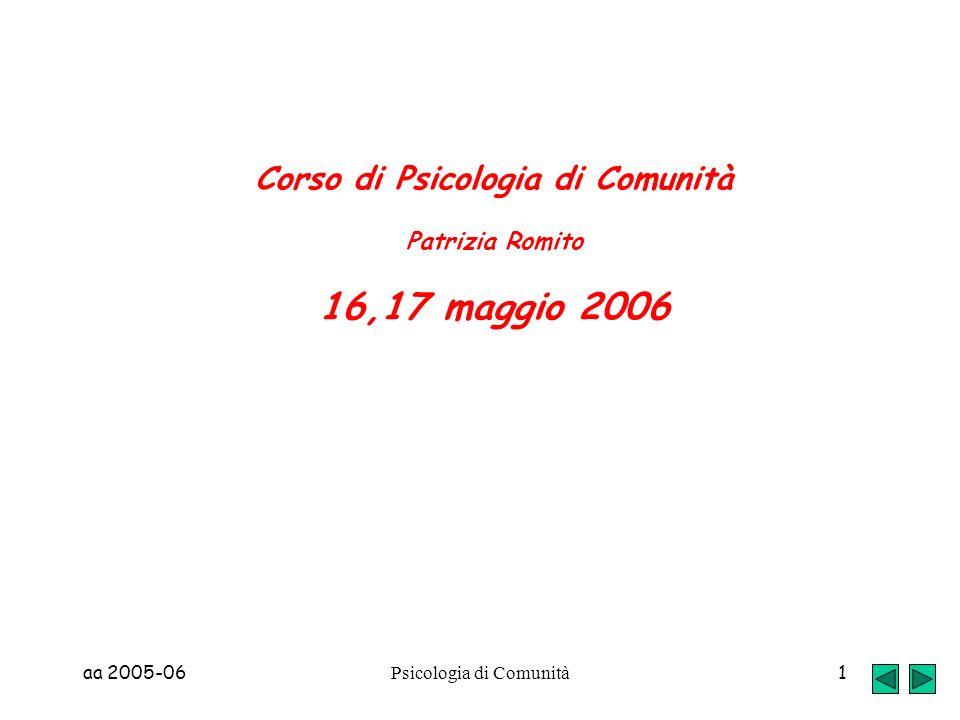 aa 2005-06 Psicologia di Comunità 1 Corso di Psicologia di Comunità Patrizia Romito 16,17 maggio 2006