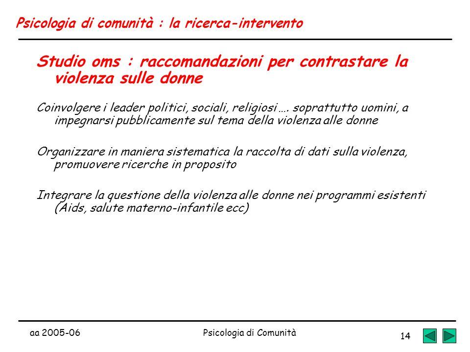 aa 2005-06Psicologia di Comunità 14 Psicologia di comunità : la ricerca-intervento Studio oms : raccomandazioni per contrastare la violenza sulle donn