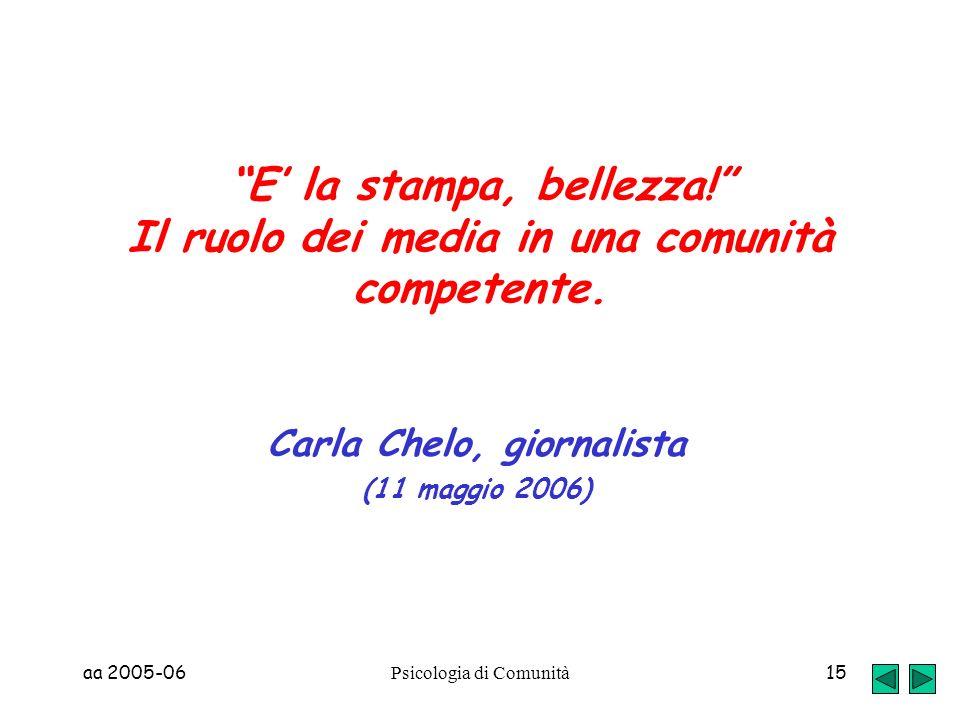 aa 2005-06 Psicologia di Comunità 15 E la stampa, bellezza! Il ruolo dei media in una comunità competente. Carla Chelo, giornalista (11 maggio 2006)