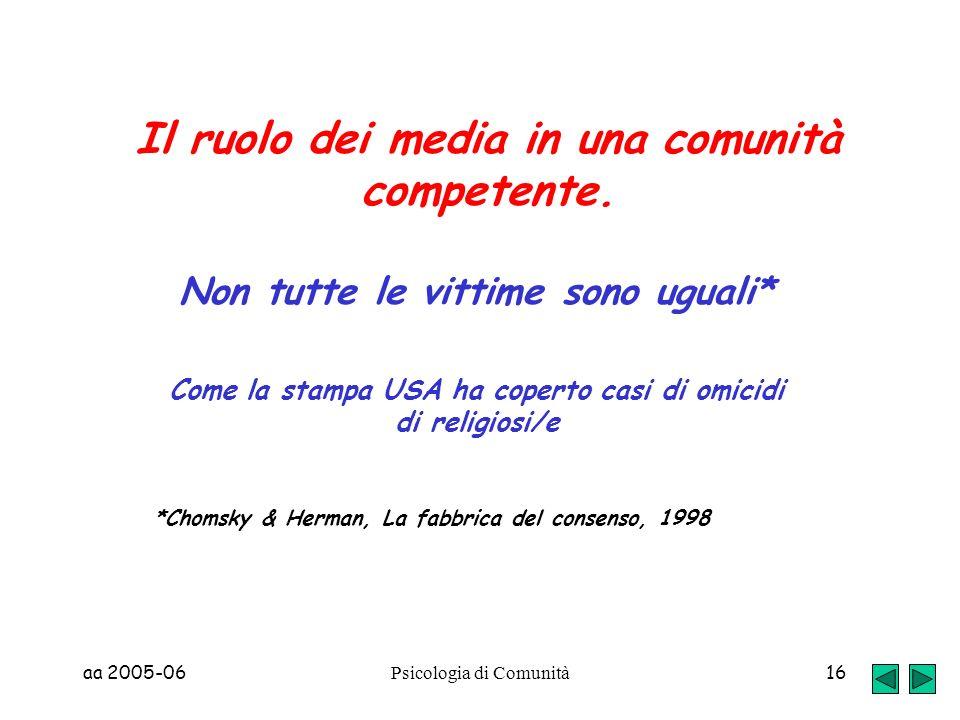 aa 2005-06 Psicologia di Comunità 16 Il ruolo dei media in una comunità competente. Non tutte le vittime sono uguali* Come la stampa USA ha coperto ca