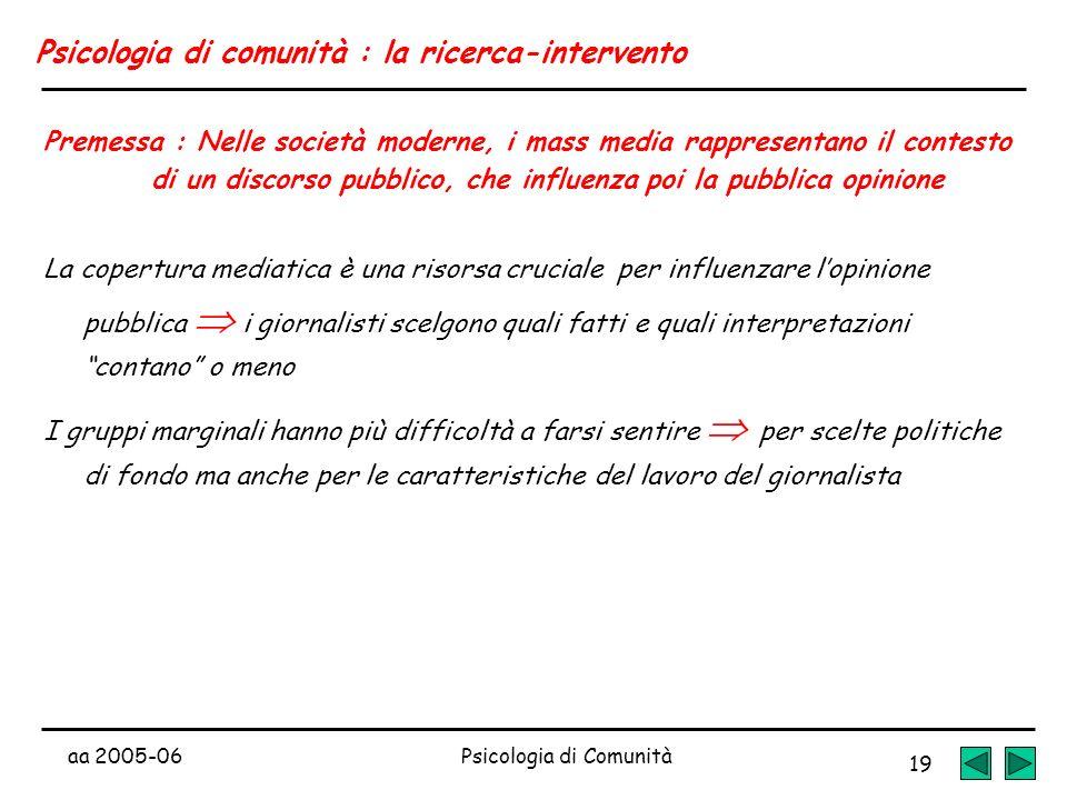 aa 2005-06Psicologia di Comunità 19 Psicologia di comunità : la ricerca-intervento Premessa : Nelle società moderne, i mass media rappresentano il con
