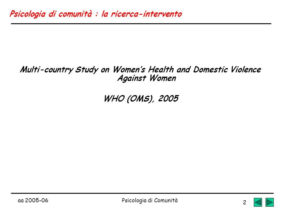 aa 2005-06Psicologia di Comunità 2 Psicologia di comunità : la ricerca-intervento Multi-country Study on Womens Health and Domestic Violence Against W