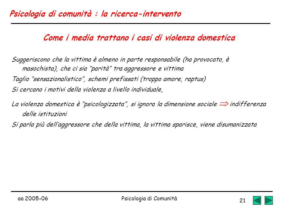 aa 2005-06Psicologia di Comunità 21 Psicologia di comunità : la ricerca-intervento Come i media trattano i casi di violenza domestica Suggeriscono che