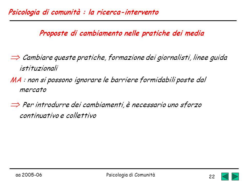 aa 2005-06Psicologia di Comunità 22 Psicologia di comunità : la ricerca-intervento Proposte di cambiamento nelle pratiche dei media Cambiare queste pr
