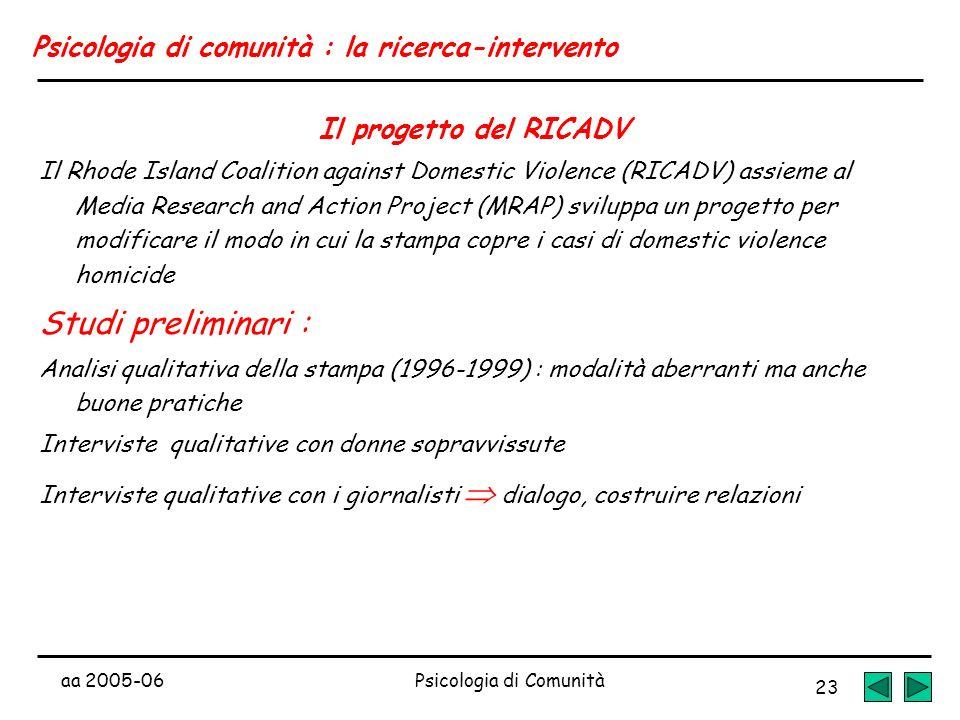 aa 2005-06Psicologia di Comunità 23 Psicologia di comunità : la ricerca-intervento Il progetto del RICADV Il Rhode Island Coalition against Domestic V