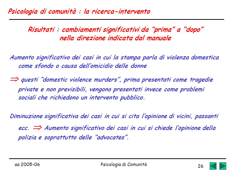 aa 2005-06Psicologia di Comunità 26 Psicologia di comunità : la ricerca-intervento Risultati : cambiamenti significativi da prima a dopo nella direzio