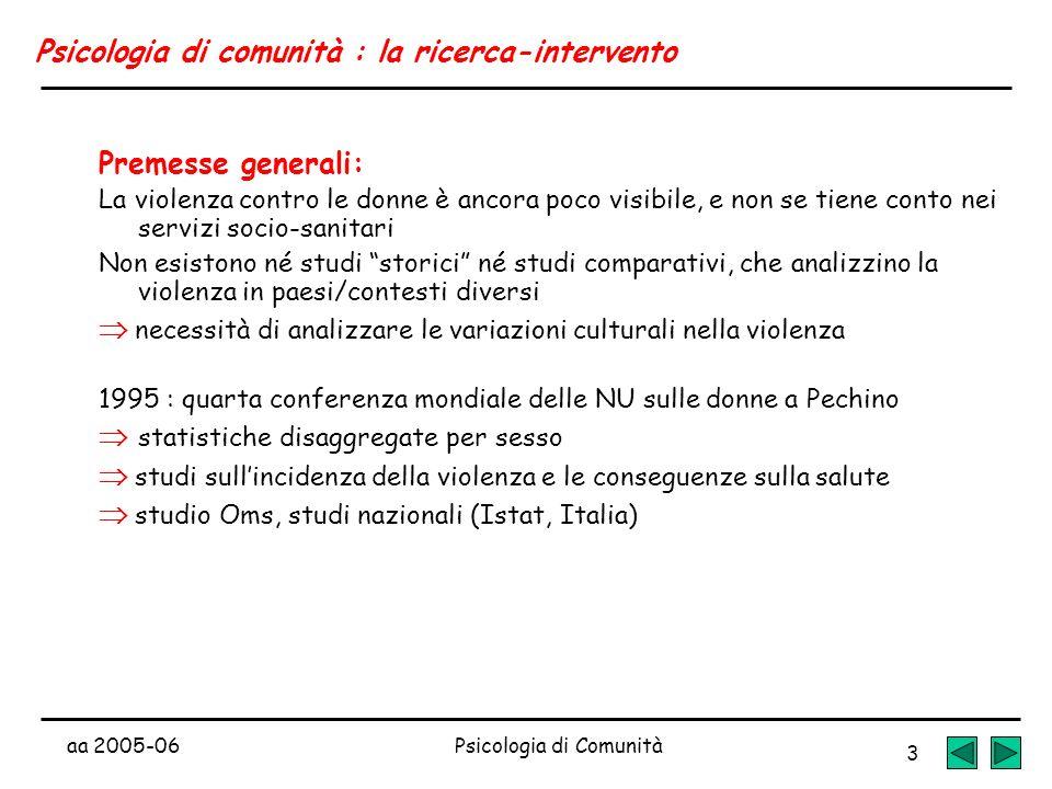 aa 2005-06Psicologia di Comunità 3 Psicologia di comunità : la ricerca-intervento Premesse generali: La violenza contro le donne è ancora poco visibil