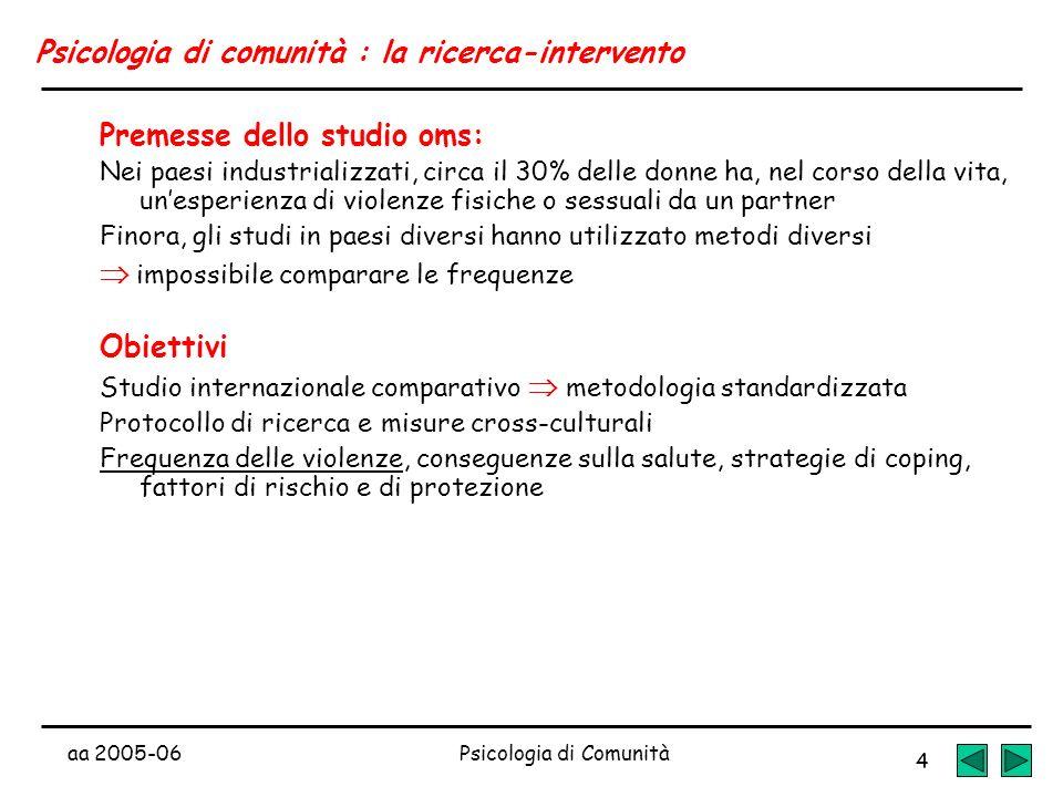 aa 2005-06Psicologia di Comunità 4 Psicologia di comunità : la ricerca-intervento Premesse dello studio oms: Nei paesi industrializzati, circa il 30%