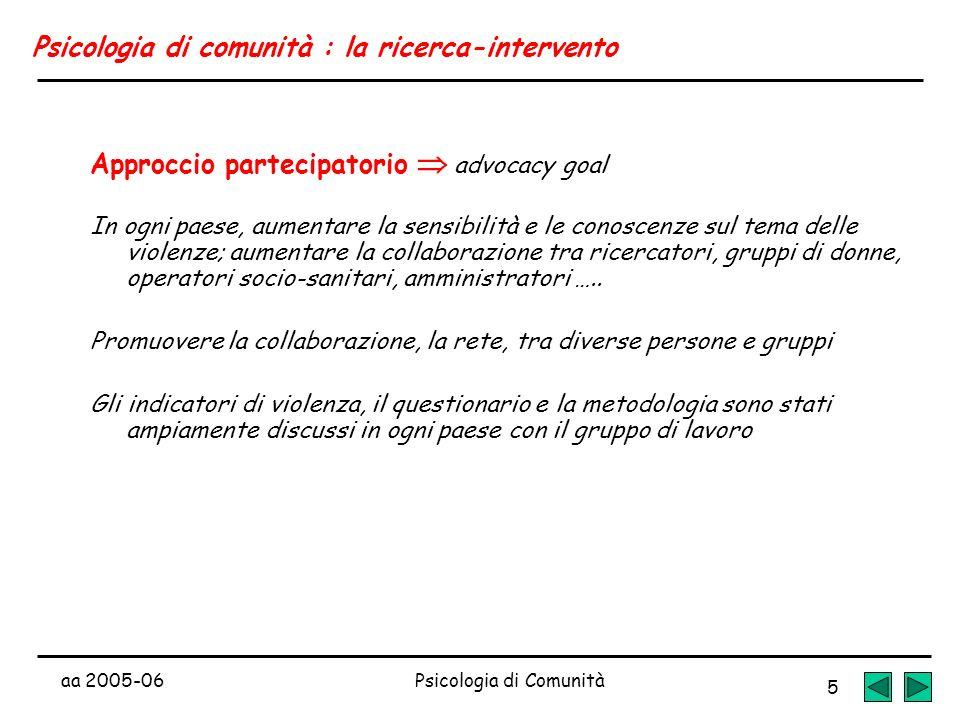 aa 2005-06Psicologia di Comunità 5 Psicologia di comunità : la ricerca-intervento Approccio partecipatorio advocacy goal In ogni paese, aumentare la s