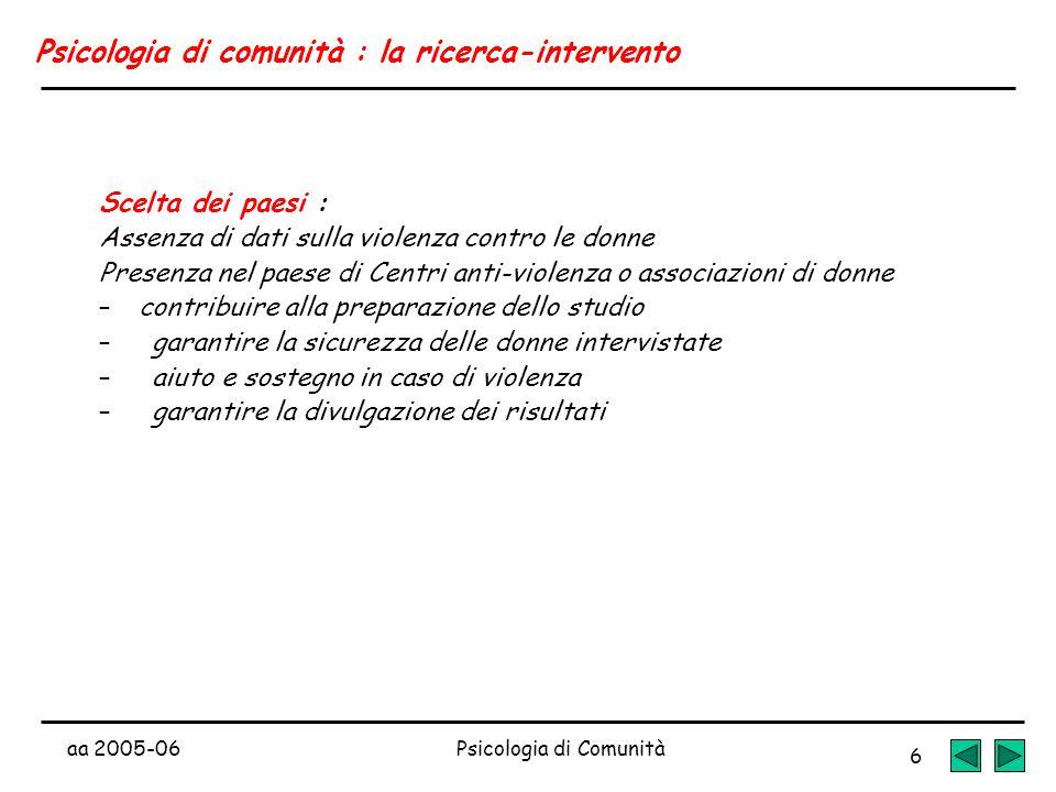 aa 2005-06Psicologia di Comunità 6 Psicologia di comunità : la ricerca-intervento Scelta dei paesi : Assenza di dati sulla violenza contro le donne Pr