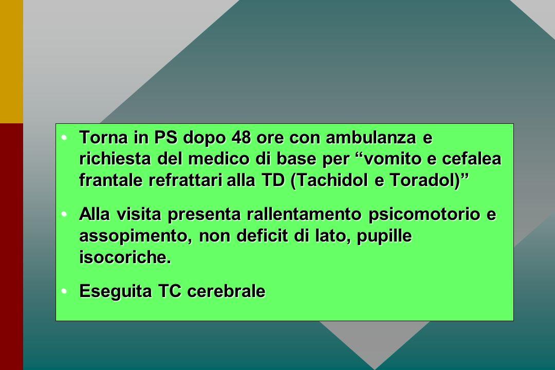 Torna in PS dopo 48 ore con ambulanza e richiesta del medico di base per vomito e cefalea frantale refrattari alla TD (Tachidol e Toradol)Torna in PS