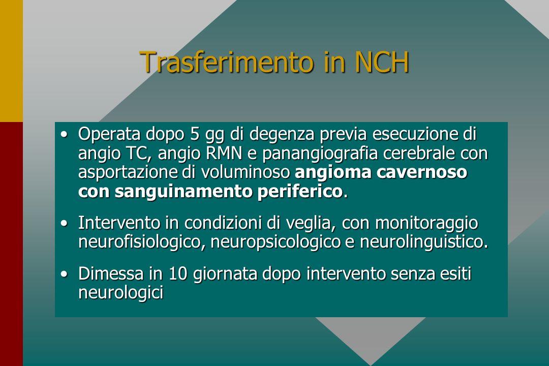 Trasferimento in NCH Operata dopo 5 gg di degenza previa esecuzione di angio TC, angio RMN e panangiografia cerebrale con asportazione di voluminoso a