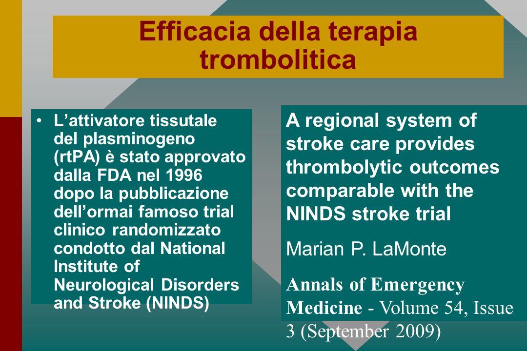 Efficacia della terapia trombolitica Lattivatore tissutale del plasminogeno (rtPA) è stato approvato dalla FDA nel 1996 dopo la pubblicazione dellorma