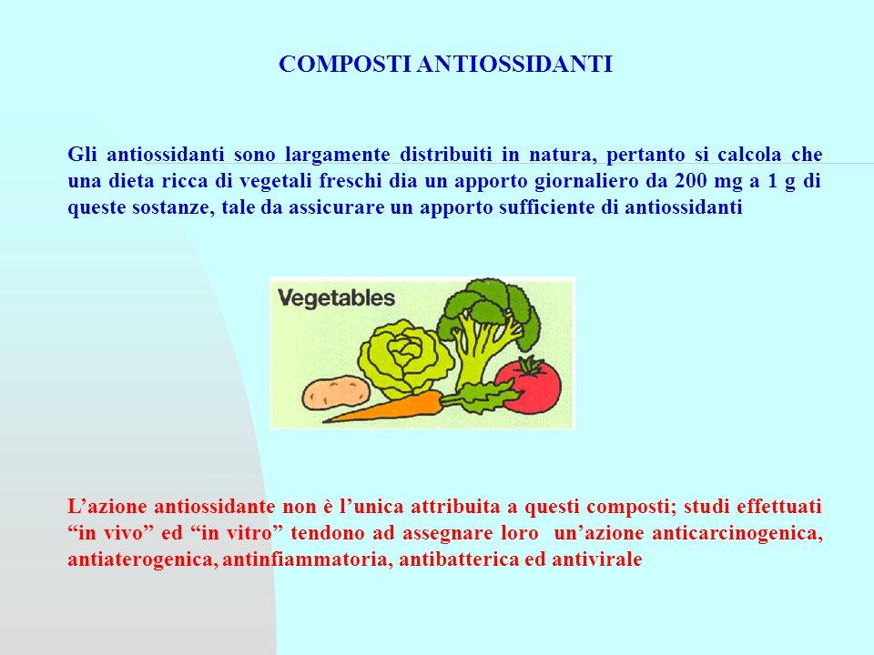 Lazione antiossidante non è lunica attribuita a questi composti; studi effettuati in vivo ed in vitro tendono ad assegnare loro unazione anticarcinogenica, antiaterogenica, antinfiammatoria, antibatterica ed antivirale COMPOSTI ANTIOSSIDANTI Gli antiossidanti sono largamente distribuiti in natura, pertanto si calcola che una dieta ricca di vegetali freschi dia un apporto giornaliero da 200 mg a 1 g di queste sostanze, tale da assicurare un apporto sufficiente di antiossidanti