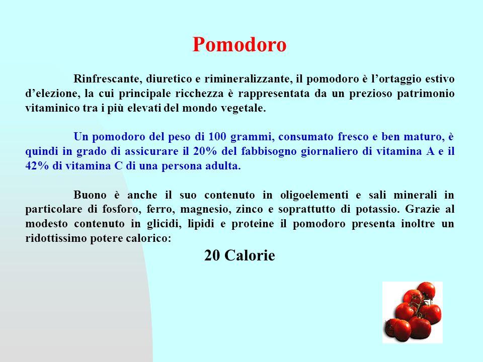 Pomodoro Rinfrescante, diuretico e rimineralizzante, il pomodoro è lortaggio estivo delezione, la cui principale ricchezza è rappresentata da un prezioso patrimonio vitaminico tra i più elevati del mondo vegetale.