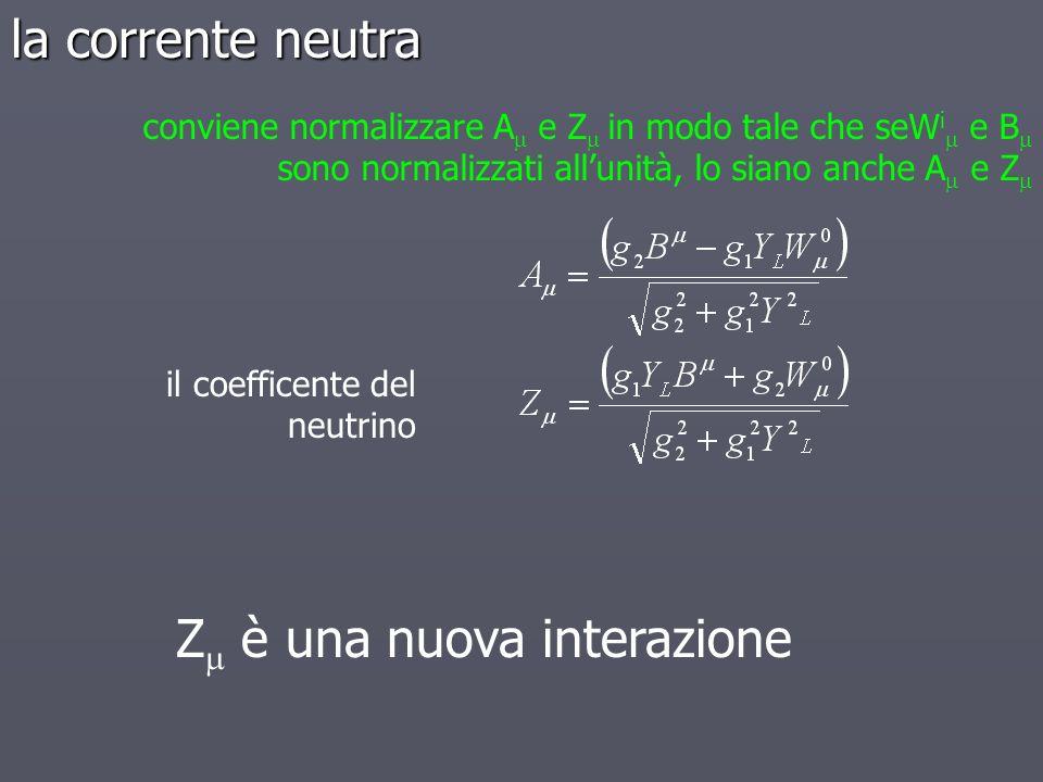 il coefficente del neutrino Z è una nuova interazione conviene normalizzare A e Z in modo tale che seW i e B sono normalizzati allunità, lo siano anch