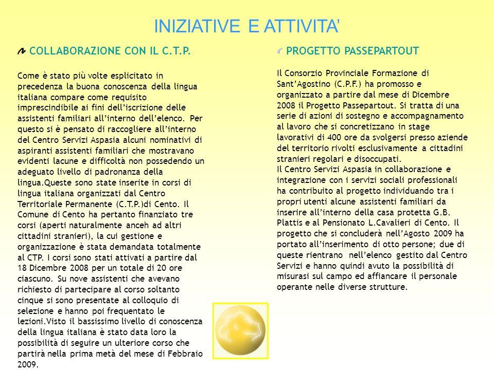 INIZIATIVE E ATTIVITA COLLABORAZIONE CON IL C.T.P.