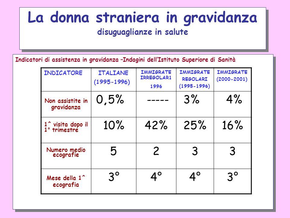 Indicatori di assistenza in gravidanza –Indagini dellIstituto Superiore di Sanità La donna straniera in gravidanza disuguaglianze in salute INDICATORE