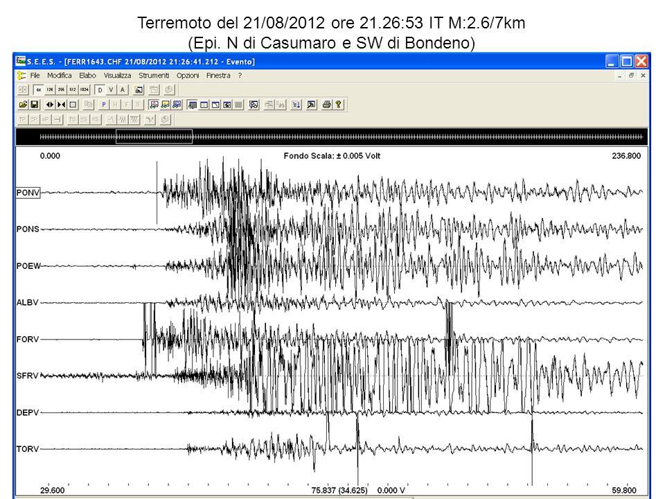 Terremoto del 21/08/2012 ore 21.26:53 IT M:2.6/7km (Epi. N di Casumaro e SW di Bondeno)