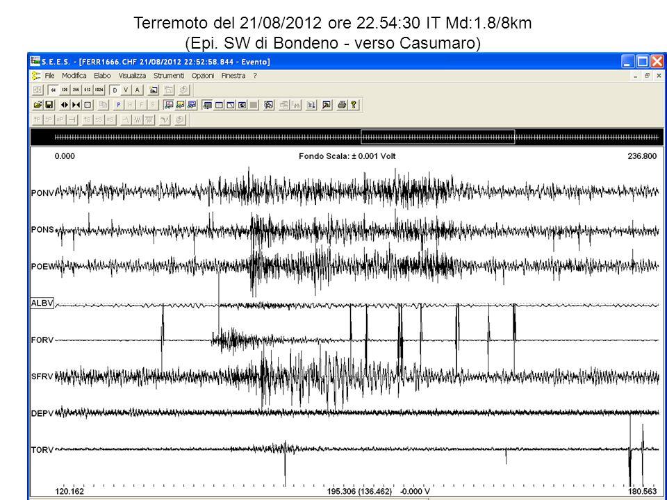 Terremoto del 21/08/2012 ore 22.54:30 IT Md:1.8/8km (Epi. SW di Bondeno - verso Casumaro)