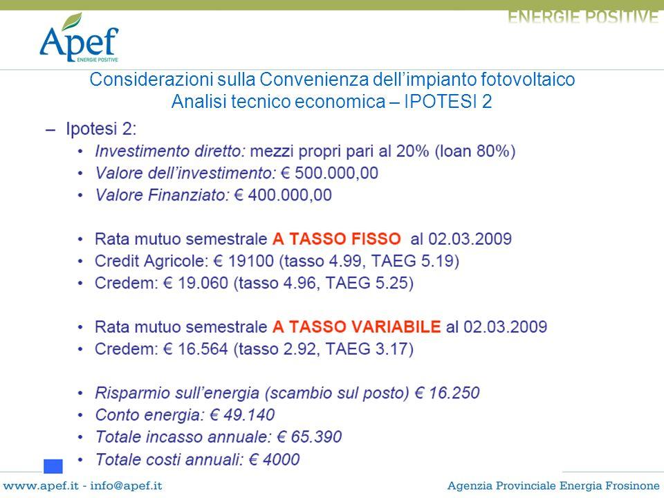 Considerazioni sulla Convenienza dellimpianto fotovoltaico Analisi tecnico economica – IPOTESI 2