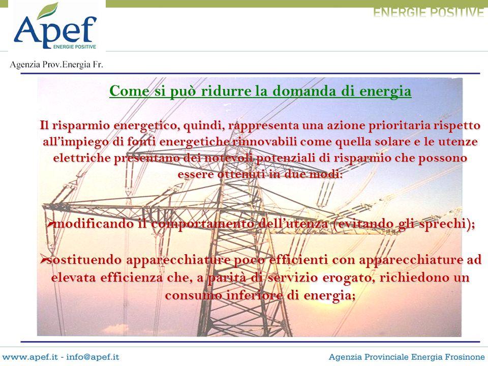 Come si può ridurre la domanda di energia Il risparmio energetico, quindi, rappresenta una azione prioritaria rispetto allimpiego di fonti energetiche