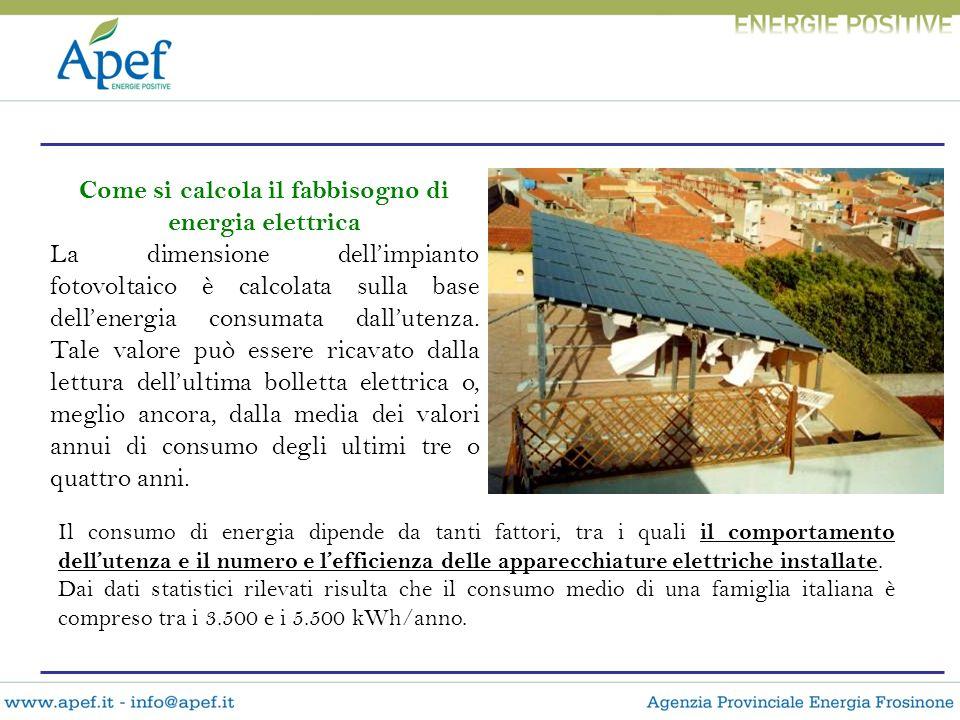 Come si calcola il fabbisogno di energia elettrica La dimensione dellimpianto fotovoltaico è calcolata sulla base dellenergia consumata dallutenza. Ta