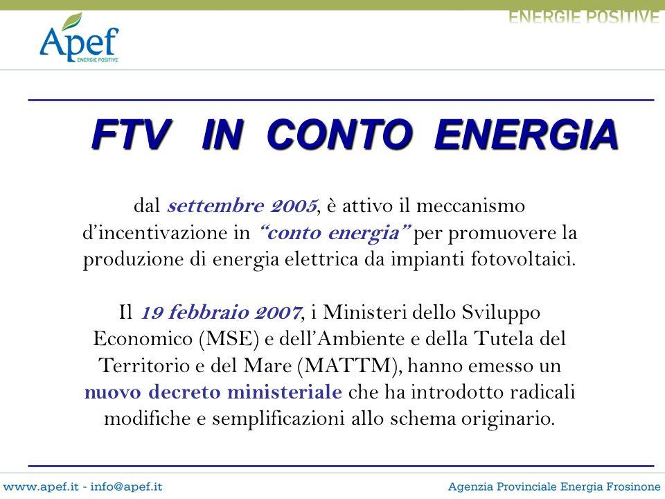 dal settembre 2005, è attivo il meccanismo dincentivazione in conto energia per promuovere la produzione di energia elettrica da impianti fotovoltaici