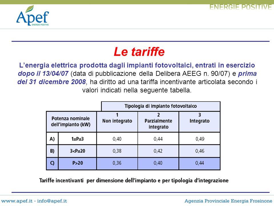 Le tariffe Lenergia elettrica prodotta dagli impianti fotovoltaici, entrati in esercizio dopo il 13/04/07 (data di pubblicazione della Delibera AEEG n