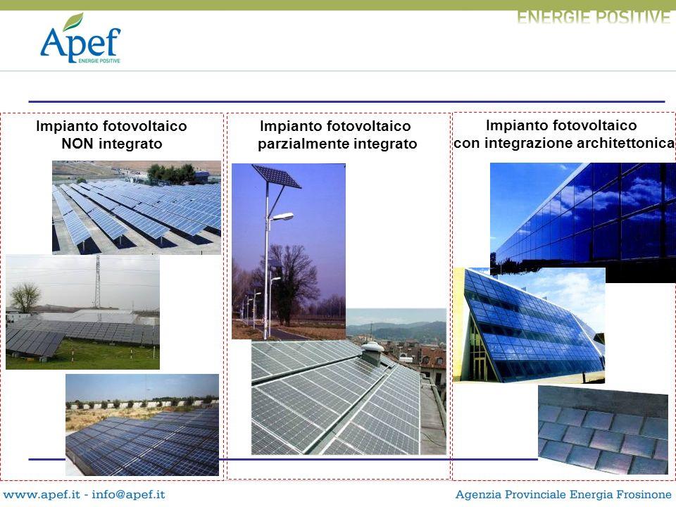 Impianto fotovoltaico NON integrato Impianto fotovoltaico con integrazione architettonica Impianto fotovoltaico parzialmente integrato