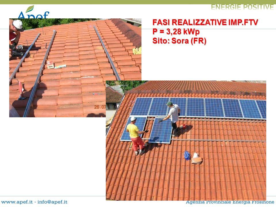 FASI REALIZZATIVE IMP.FTV P = 3,28 kWp Sito: Sora (FR)