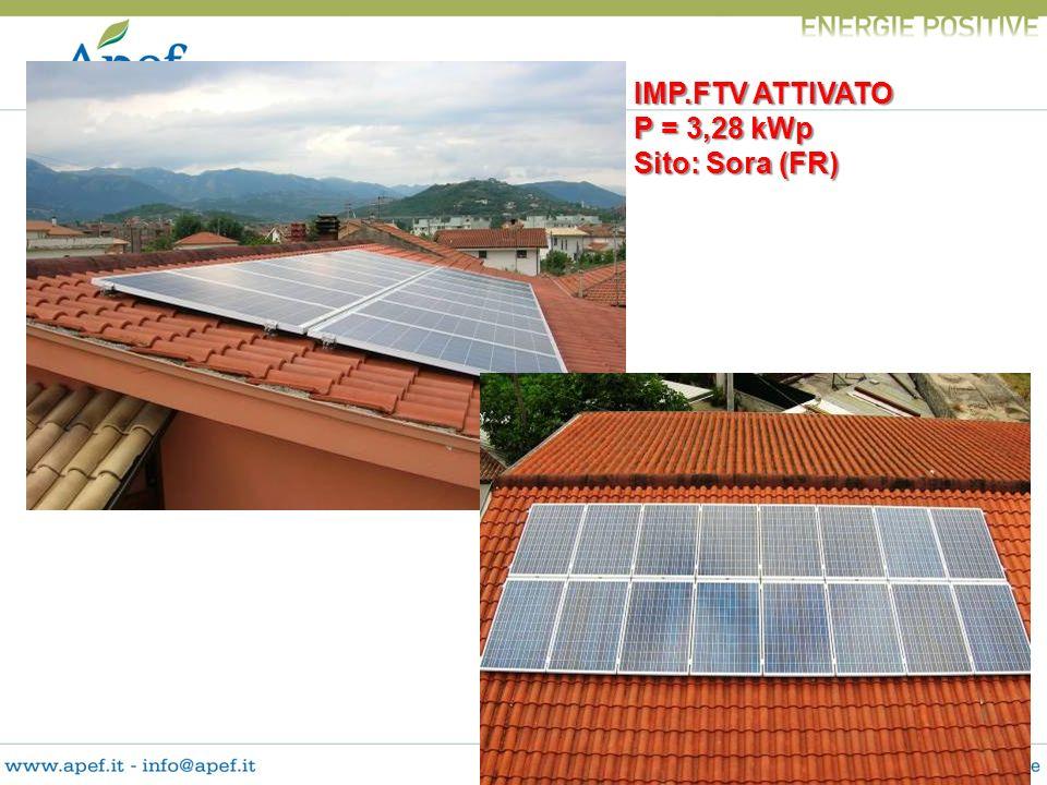 IMP.FTV ATTIVATO P = 3,28 kWp Sito: Sora (FR)