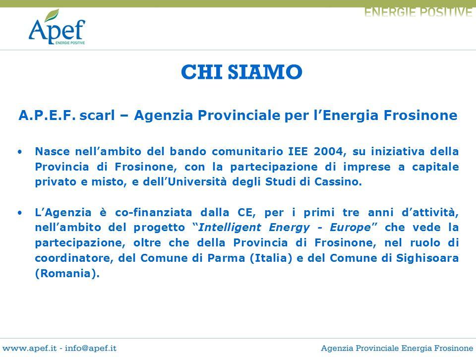 CHI SIAMO A.P.E.F. scarl – Agenzia Provinciale per lEnergia Frosinone Nasce nellambito del bando comunitario IEE 2004, su iniziativa della Provincia d