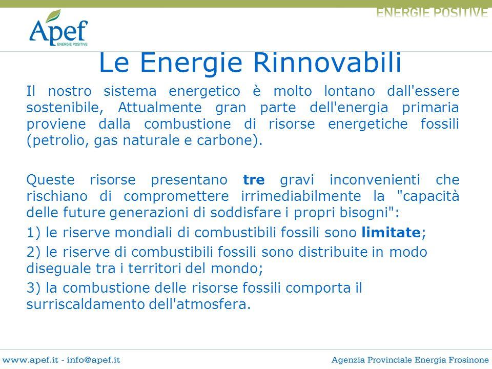 Il nostro sistema energetico è molto lontano dall'essere sostenibile, Attualmente gran parte dell'energia primaria proviene dalla combustione di risor