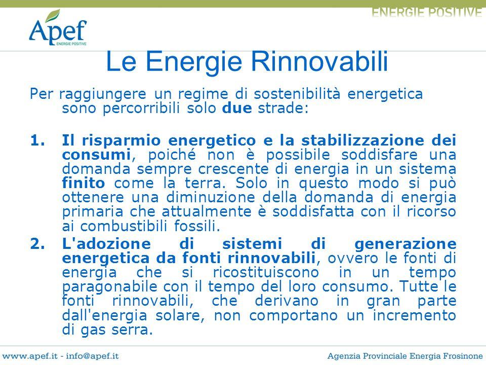 Per raggiungere un regime di sostenibilità energetica sono percorribili solo due strade: 1.Il risparmio energetico e la stabilizzazione dei consumi, p